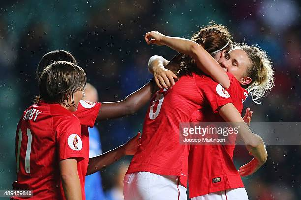 Jill Scott of England celebrates with teammates after scoring a goal during UEFA Women's Euro 2017 Qualifier match between Estonia and England at A...