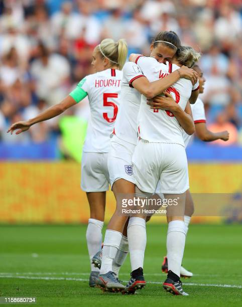 Jill Scott of England celebrates with teammates after scoring her team's first goal during the 2019 FIFA Women's World Cup France Quarter Final match...