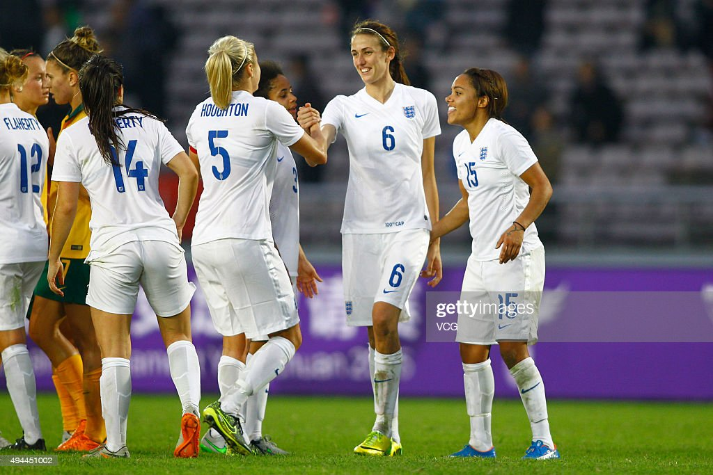 Jill Scott #6 of England celebrates with the team after the match between England and Australia during the 2015 Yongchuan Women's Football International Matches at Yongchuan Sports Center on October 27, 2015 in Yongchuan, Chongqing of China.