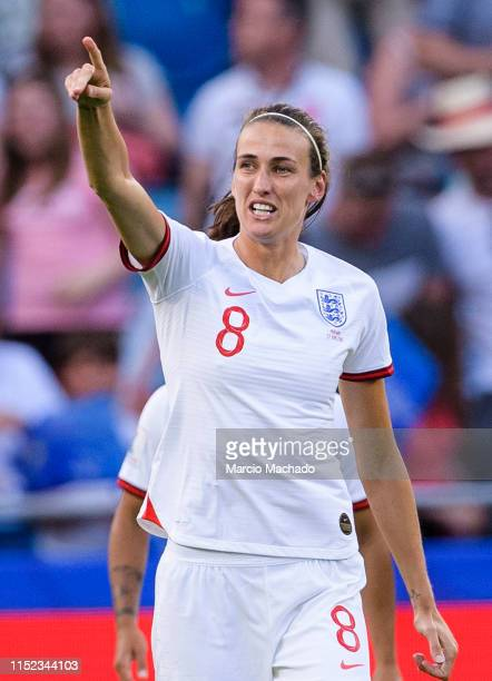 Jill Scott of England celebrating the opening goal of England during the 2019 FIFA Women's World Cup France Quarter Final match between Norway and...