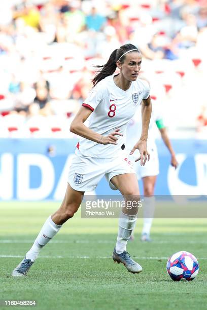 Jill Scott of England controls the ball during the 2019 FIFA Women's World Cup France 3rd Place match between England and Sweden at Stade de Nice on...