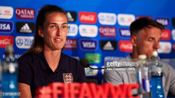 Jill Scott of England faces the media during a press conference ahead of the 2019 FIFA Women's World Cup France Round Of 16 match between England and...