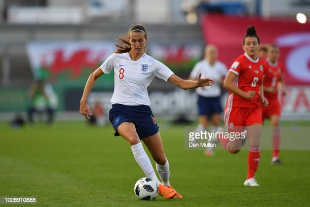 Jill Scott of England in action during the Women's World Cup qualifier between Wales Women and England Women at Rodney Parade on August 31 2018 in...