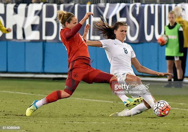Jill Scott of England plays against Germany during the second half of a friendly international match in the Shebelieves Cup at Nissan Stadium on...