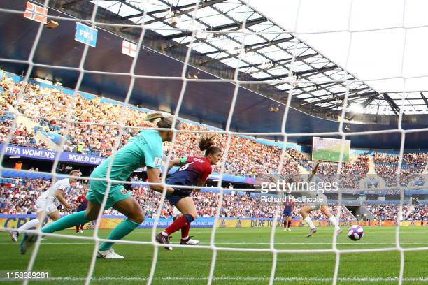 Jill Scott of England scores her team's first goal past Ingrid Hjelmseth of Norway during the 2019 FIFA Women's World Cup France Quarter Final match...