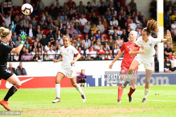 Jill Scott of England scores her team's second goal during the International Friendly between England Women and Denmark Women at Bank's Stadium on...