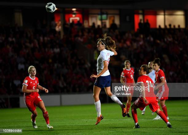 Jill Scott of England scores the second goal during the Women's World Cup qualifier between Wales Women and England Women at Rodney Parade on August...
