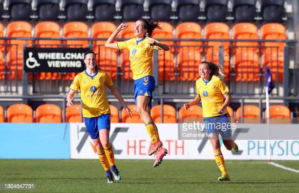 Jill Scott of Everton celebrates after scoring their side's third goal during the Barclays FA Women's Super League match between Tottenham Hotspur...