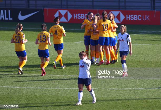 Jill Scott of Everton celebrates with team mates after scoring their side's second goal from the penalty spot during the Barclays FA Women's Super...
