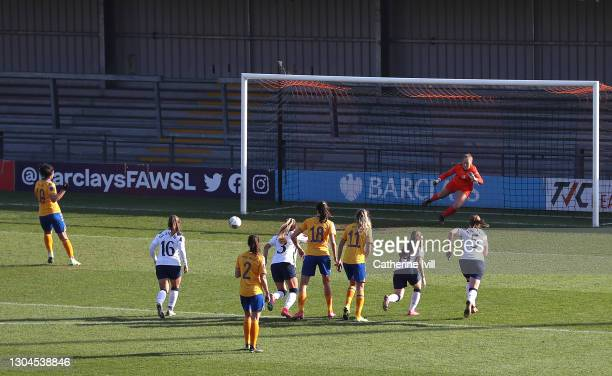 Jill Scott of Everton scores their side's second goal from the penalty spot past Aurora Milkalsen of Tottenham Hotspur during the Barclays FA Women's...