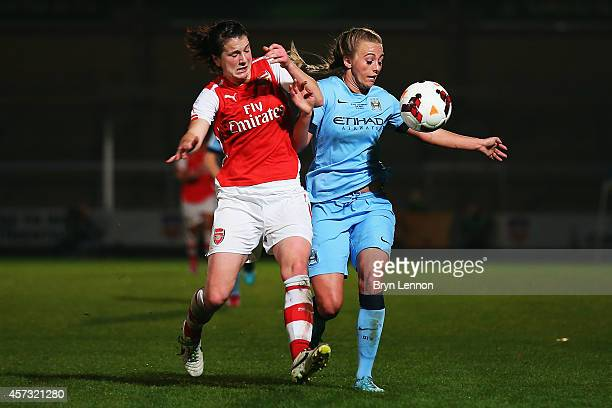 Jill Scott of Manchester City Women battles with Toni Duggan of Arsenal Ladies during the FA WSL Continental Cup Final between Arsenal Ladies and...