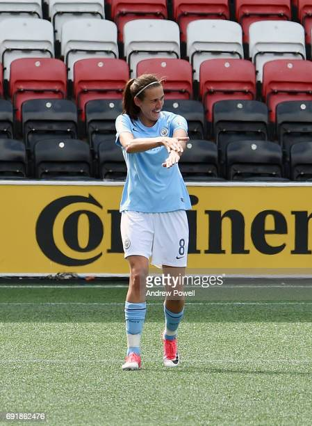 Jill Scott of Manchester City Women celebrates after scoring the opening goal during the WSL 1 match between Liverpool Ladies and Manchester City...