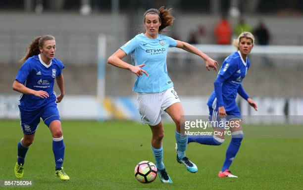 Jill Scott of Manchester City Women controls the ball from Andrine Hegerberg of Birmingham City Ladies during the FA WSL Continental Tyres Cup...
