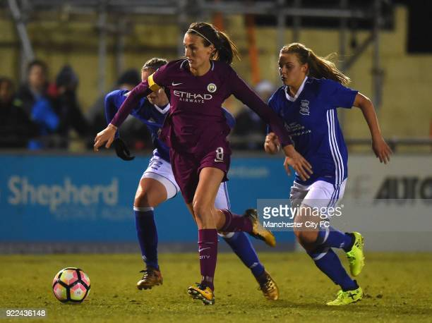 Jill Scott of Manchester City Women holds off a tackle by Sarah Mayling of Birmingham City Ladies during the WSL match between Birmingham City Ladies...