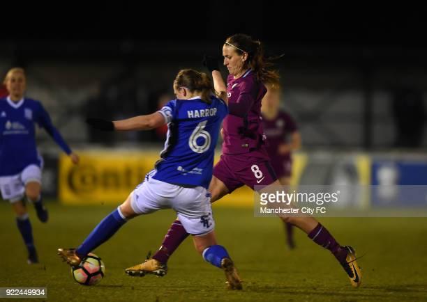 Jill Scott of Manchester City Women is tackled by Kerys Harrop of Birmingham City Ladies during the WSL match between Birmingham City Ladies and...