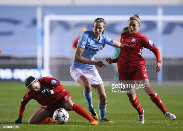 Jill Scott of Manchester City Women is tackled by Kosovare Asllani and Filippa Angeldahl of Linkoping during the UEFA Women's Champions League...