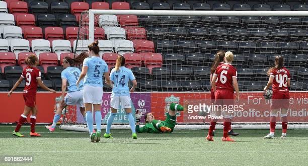 Jill Scott of Manchester City Women scores the opening goal during a WSL 1 match between Liverpool Ladies and Manchester City Women at Select...