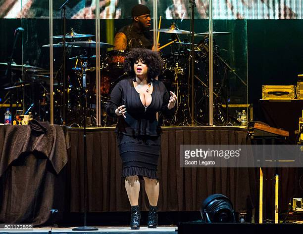Jill Scott performs at Joe Louis Arena during the Holiday Jam on December 12 2015 in Detroit Michigan