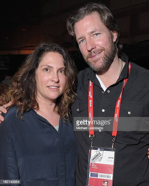 Jill Soloway and Ed Burns attend the Awards Night Party during the 2013 Sundance Film Festival at Basin Recreation Field House on January 26 2013 in...