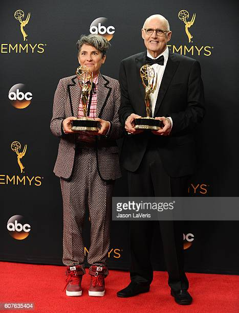 Jill Soloway and Jeffrey Tambor pose in the press room at the 68th annual Primetime Emmy Awards at Microsoft Theater on September 18, 2016 in Los...