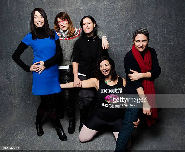 Jill Soloway Illeana Douglas Jessie Kahnweiler Rebecca Odes and Andrea Sperling from the film 'The Skinny' pose for a portrait at the 2016 Sundance...