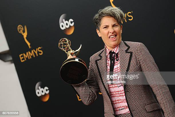 Jill Soloway poses in the press room at the 68th annual Primetime Emmy Awards at Microsoft Theater on September 18, 2016 in Los Angeles, California.