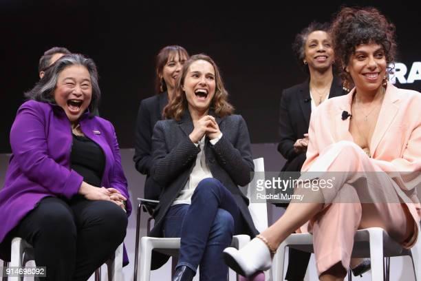 Jill Soloway Rashida Jones Nina Shaw Tina Tchen Natalie Portman and Melina Matsoukas speak onstage during The 2018 MAKERS Conference at NeueHouse...