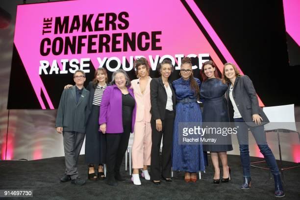 Jill Soloway Rashida Jones Tina Tchen Melina Matsoukas Nina Shaw Ava DuVernay Maha Dakhil and Natalie Portman pose onstage during The 2018 MAKERS...