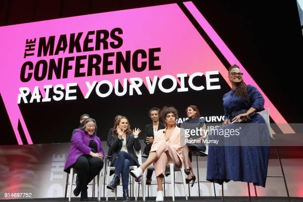 Jill Soloway Rashida Jones Tina Tchen Melina Matsoukas Nina Shaw Ava DuVernay Maha Dakhil and Natalie Portman speak onstage during The 2018 MAKERS...