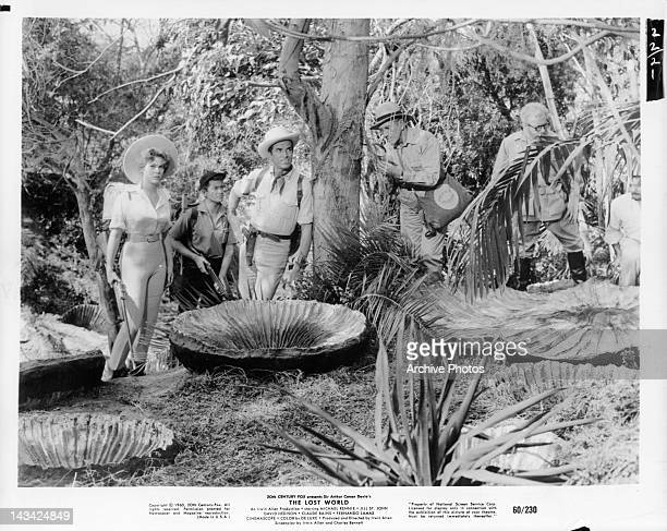 Jill St John David Hedison and explorers deep in the jungle in a scene from the film 'The Lost World' 1960