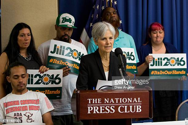 Jill Stein announces that she will seek the Green Party's presidential nomination at the National Press Club June 23 2015 in Washington DC Stein also...
