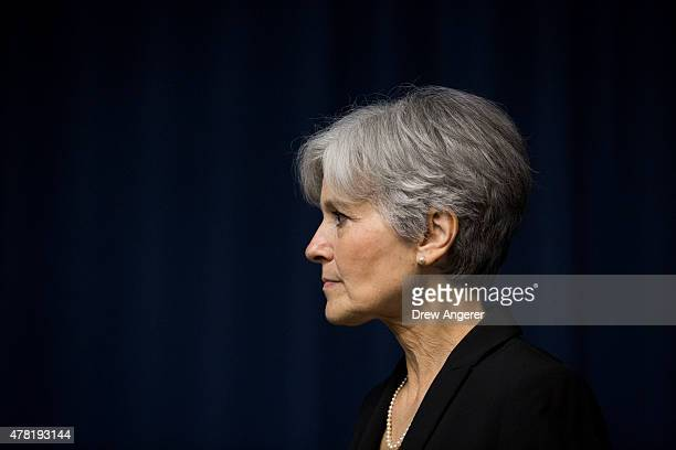 Jill Stein is seen after she announced that she will seek the Green Party's presidential nomination at the National Press Club June 23 2015 in...
