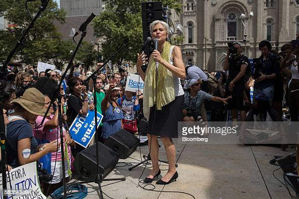 Jill Stein presumptive 2016 Green Party presidential nominee speaks at a Bernie or Bust rally during the Democratic National Convention in...