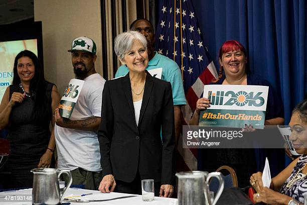 Jill Stein smiles after announcing that she will seek the Green Party's presidential nomination at the National Press Club June 23 2015 in Washington...