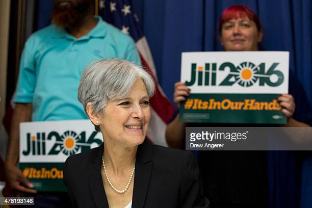 Jill Stein smiles before announcing that she will seek the Green Party's presidential nomination at the National Press Club June 23 2015 in...