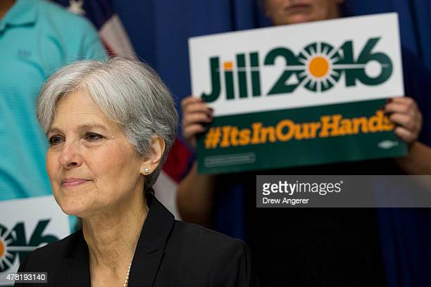 Jill Stein waits to speak before announcing that she will seek the Green Party's presidential nomination at the National Press Club June 23 2015 in...