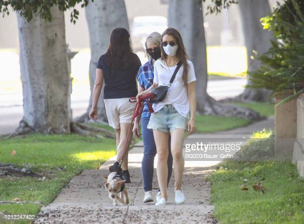 Jill Tavelman and Lily Collins are seen on May 08, 2020 in Los Angeles, California.