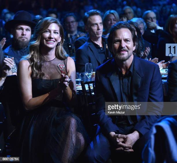 Jill Vedder and inductee Eddie Vedder of Pearl Jam attend 32nd Annual Rock Roll Hall Of Fame Induction Ceremony at Barclays Center on April 7 2017 in...