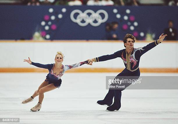 Jill Watson and Peter Oppergard of the United States competing in the Mixed Pairs Figure Skating event on 16 February 1988 during the XV Olympic...