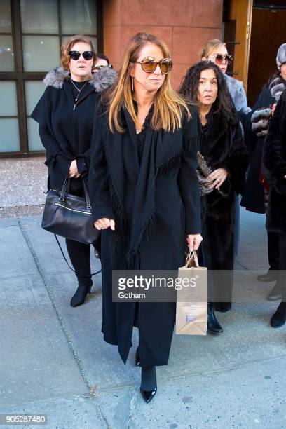 Jill Zarin is seen departing from the funeral for Bobby Zarin at Riverside Memorial Chapel on January 15 2018 in New York City