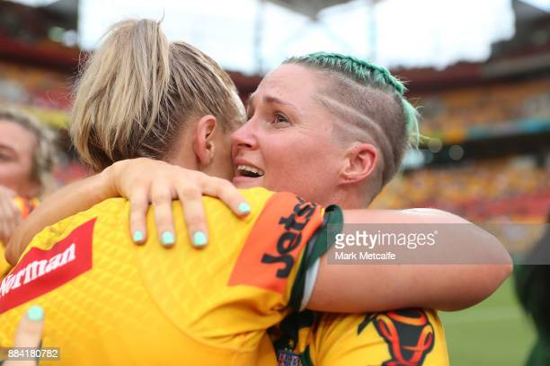 Jillaroos celebrate winning the 2017 Rugby League Women's World Cup Final between Australia and New Zealand at Suncorp Stadium on December 2 2017 in...