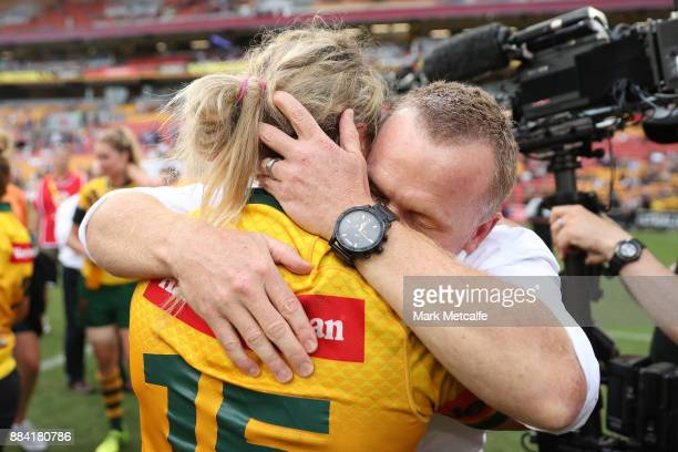 Jillaroos coach Brad Donald celebrates after winning the 2017 Rugby League Women's World Cup Final between Australia and New Zealand at Suncorp...
