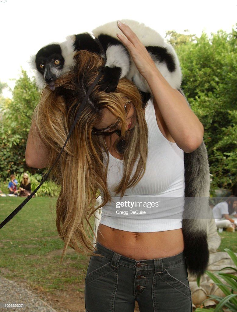 Jillian Barberie & Boo the Lemur during Wildlife Waystation Presents The 8th Annual Safari Brunch at Private Home in Pasadena, California, United States.