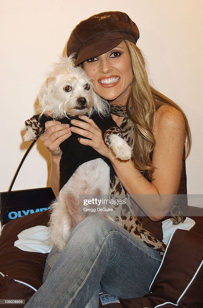 Jillian Barberie & her dog Teddy during Exhibition by Celebrity Animal Photographer Christopher Ameruoso at Hamilton-Selway Fine Arts in West Hollywood, California, United States.