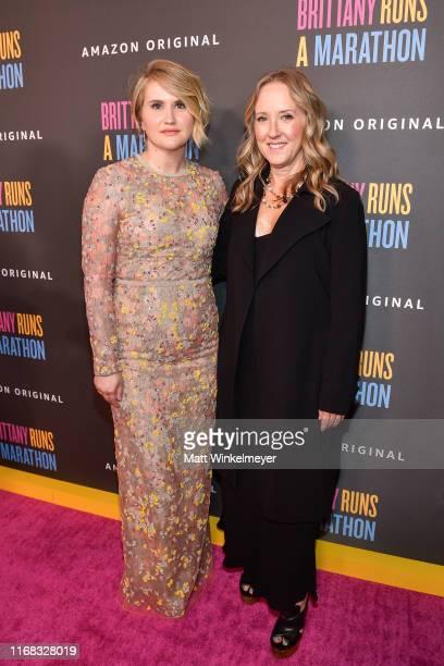 Jillian Bell and Jennifer Salke attend the premiere of Amazon Studios' Brittany Runs A Marathon at Regal LA Live on August 15 2019 in Los Angeles...