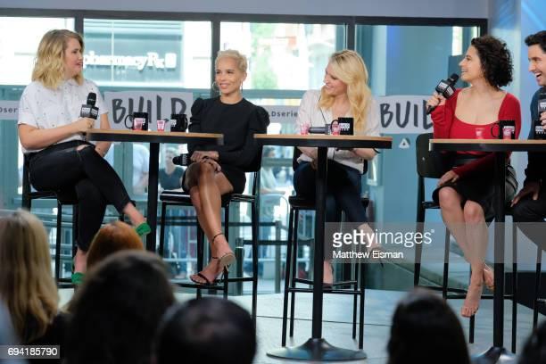 Jillian Bell, Zoe Kravitz, Kate McKinnon and Ilana Glazer discuss the new film 'Rough Night' at Build Studio on June 9, 2017 in New York City.