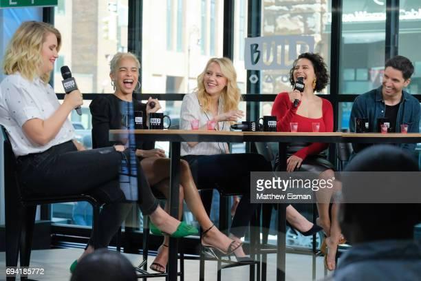 Jillian Bell, Zoe Kravitz, Kate McKinnon, Ilana Glazer and Paul W. Downs discuss the new film 'Rough Night' at Build Studio on June 9, 2017 in New...