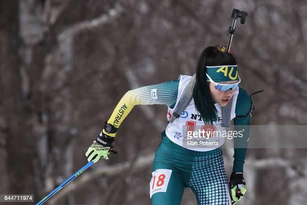 Jillian Colebourn of Australia competes in the women's biathlon 10 km pursuit on day seven of the 2017 Sapporo Asian Winter Games at Nishioka...