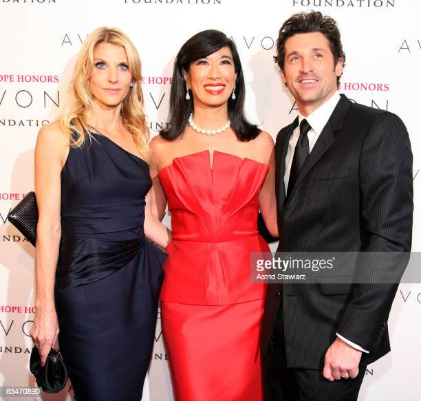 Jillian Dempsey Chairman and CEO of Avon Products Inc Andrea Jung and actor Patrick Dempsey arrives at The Hope Honors hosted by the Avon Foundation...