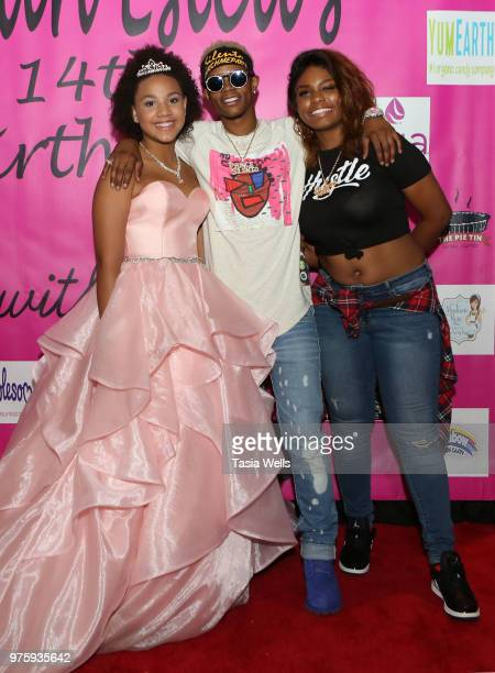 Jillian Estell rapper Silento and musical artist Tyeler Reign attend Jillian Estell's red carpet birthday party with a purpose benefitting The Celiac...
